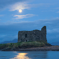 Full Moon light over McCarthy Castle, Ballinskelligs Co. Kerry, Ireland