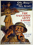Oh, boy! That's the girl! The Salvation Army lassie--keep her on the job by George M. Richards, (George Mather), b. 1880, artist United States. Committee on Public Information. Division of Pictorial Publicity. Date Created/Published: N[ew] Y[ork] : The Sackett & Wilhelm's Corporation, [1918] Poster showing a young woman in uniform carrying a tray of doughnuts, and a soldier with a doughnut gesturing toward her approvingly.