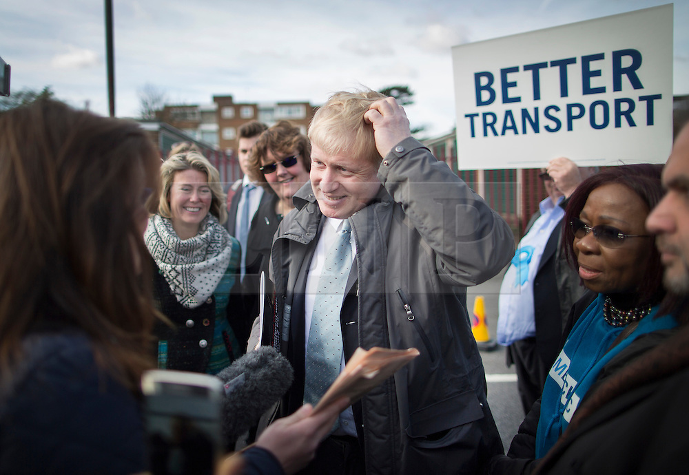 © Licensed to London News Pictures. 03/03/2016. London, UK.  Mayor of London Boris Johnson talks to reporters as he joins Conservative candidate for Mayor Zac Goldsmith (unseen) on the campaign trail in Sidcup. Photo credit: Peter Macdiarmid/LNP