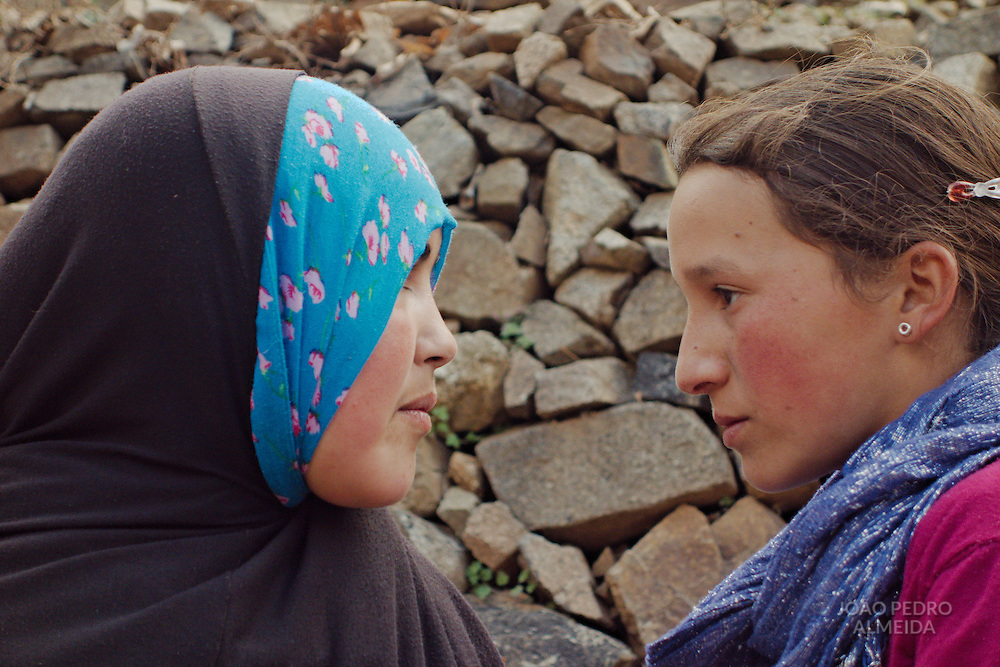 Two friends that were playing at one of the villages around Imlil.
