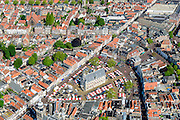 Nederland, Zuid-Holland, Gouda, 10-06-2015; Markt met kramen van de weekmarkt. In het midden het gotische stadhuis. Rond het plein de Sint-Janskerk of Grote Kerk en de Waag.<br /> Gouda is bekend van de goudse kaas, kaarsen, pijpen en stroopwafels.<br /> City centre Gouda with its 15th century townhall on the market square. Gouda is well known for itsGouda cheese, candles, pipes and syrup waffles.<br /> luchtfoto (toeslag op standard tarieven);<br /> aerial photo (additional fee required);<br /> copyright foto/photo Siebe Swart