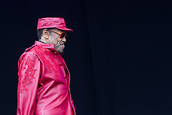 © Licensed to London News Pictures . 21/07/2013 . Suffolk , UK . Bobby Womack arrives on the Obelisk Stage . The Latitude music and culture festival in Henham Park , Southwold . Photo credit : Joel Goodman/LNP