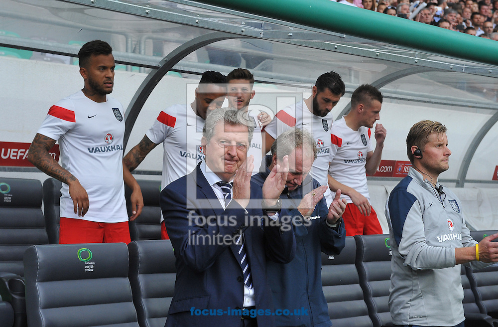 Manager of England Roy Hodgson and the bench during the UEFA Euro 2016 Qualifying match at Stozice Stadium, Ljubljana<br /> Picture by Stefano Gnech/Focus Images Ltd +39 333 1641678<br /> 14/06/2015