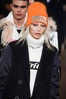 Soo Joo Park walks the runway wearing Alexander Wang Fall 2016 during New York Fashion Week on February 13, 2016