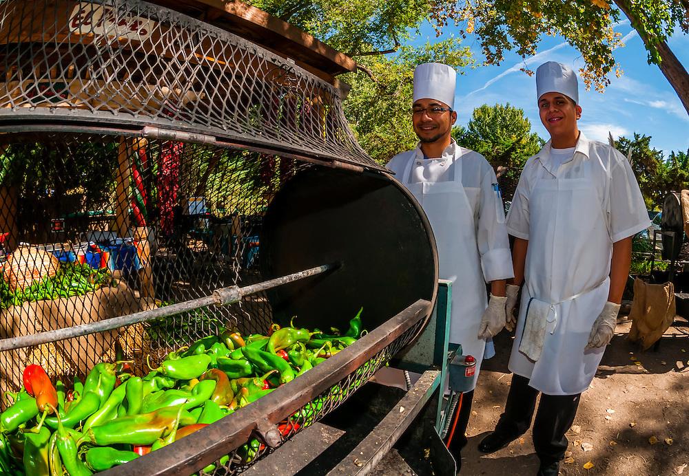Cooks roasting green chiles, El Pinto Restaurant and Cantina, Albuquerque, New Mexico USA