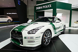 Nissan GTR Dubai Police car at the Dubai Motor Show 2013 United Arab Emirates