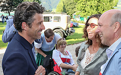 19.07.2017, Schloss Pichlarn, Aigen im Ennstal, AUT, Ennstal-Classic 2017, Welcome Evening, im Bild Schauspieler Patrick Dempsey, bekannt als McDreamy in der TV-Serie Grey's Anatomy, mit dem Veranstalter-Ehepaar Birgit und Michael Glöckner // actor Patrick Dempsey with Birgit and Michael Glöckner during the Ennstal-Classic 2017 in Pichlarn Castle, Aigen im Ennstal, Austria on 2017/07/19. EXPA Pictures © 2017, PhotoCredit: EXPA / Martin Huber