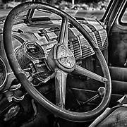 1950s Chevrolet Truck Distressed Interior Dash - Eldorado Canyon - Nelson NV - HDR - Black & White