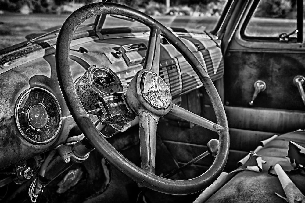 1950s Chevrolet Truck Distressed Interior Dash - Eldorado Canyon - Nelson NV - HDR - Black & White
