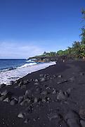 Black sand beach, Kahena Beach, Island of Hawaii<br />