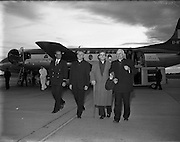 Daily Express - Sir John Barbirolli at Dublin Airport.06/06/1957..Sir John Barbirolli (02/12/1899 – 29/07/1970) was an English conductor and cellist. Born in London, of Italian and French parentage, he grew up in a family of professional musicians. His father and grandfather were violinists. Barbirolli was the first of the family to become a conductor..Barbirolli is remembered above all as conductor of the Hallé Orchestra in Manchester, which he helped save from dissolution in 1943 and conducted for the rest of his life. Earlier in his career he was Arturo Toscanini's successor as music director of the New York Philharmonic, serving there from 1936 to 1943. He was also chief conductor of the Houston Symphony from 1961 to 1967, and was a guest conductor of many other orchestras.