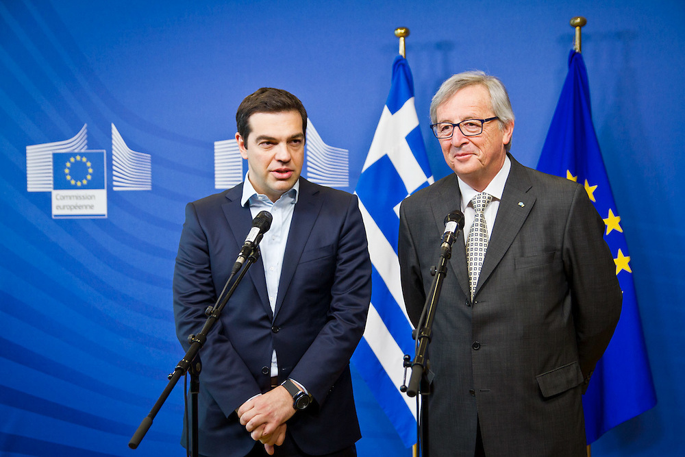 The Greek Prime Minister Alexis Tsipras meets the President of the EU Commission Jean-Claude Juncker to talk about  the lack of progress in talks on Greece's bailout