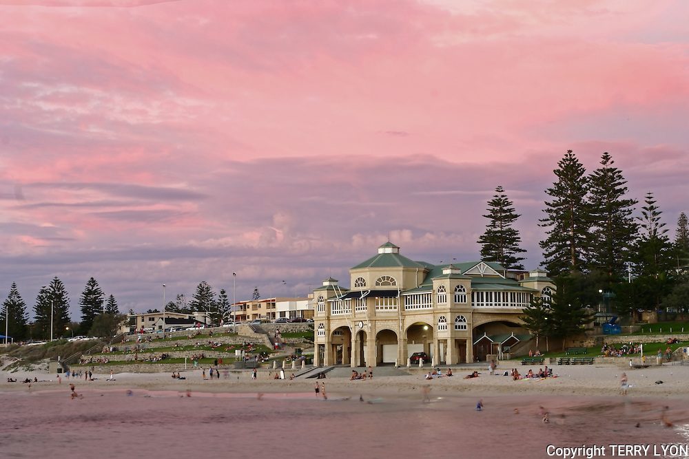 The Indiana restaurant on Cottesloe Beach with a summer pink sky sunset.