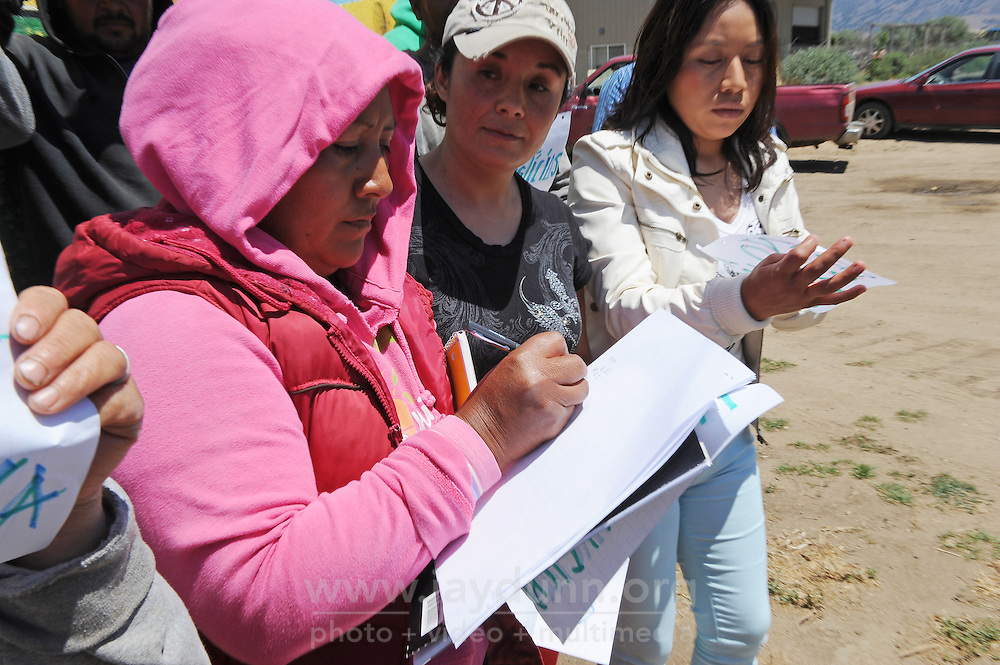 Farmers sign a letter on Tuesday to the Agriculture and Land-Based Training Association (ALBA) in Salinas which protests a new marketing agreement with management.