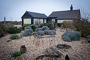 Prospect Cottage on a misty winters day, made famous by film maker Derek Jarman who found inspiration at Dungeness, where he created a shingle garden made from debris he found on the beaches of Dungeness, Kent, United Kingdom on the 25th January 2020.  (photo by Andrew Aitchison / In pictures via Getty Images)