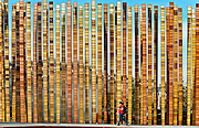 """View of """"Grass Blades"""" sculpture, Harrison Street turnaround, Seattle Center, Seattle, Washington. The laminated steel reeds were designed by John Fleming of rohleder-borges-fleming architecture."""