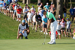 August 9, 2018 - St. Louis, Missouri, United States - Jordan Spieth lines up a putt during the first round of the 100th PGA Championship at Bellerive Country Club. (Credit Image: © Debby Wong via ZUMA Wire)