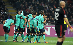 23.11.2011, Giuseppe Meazza Stadion, Mailand, ITA, UEFA CL, Gruppe H, AC Mailand (ITA) vs FC Barcelona (ESP), im Bild esultanza dopo il gol di HERNANDEZ XAVI (Barcellona) goal celebration // during the football match of UEFA Champions league, group H, between Gruppe H, AC Mailand (ITA) and FC Barcelona (ESP) at Giuseppe Meazza Stadium, Milan, Italy on 2011/11/23. EXPA Pictures © 2011, PhotoCredit: EXPA/ Insidefoto/ Alessandro Sabattini..***** ATTENTION - for AUT, SLO, CRO, SRB, SUI and SWE only *****