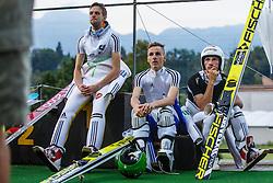 Jaka Hvala with Robert Kranjec and Naglic Tomaz during Ski Jumping Continental Cup in Kranj, Slovenia Photo by Grega Valancic / Sportida