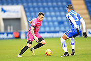 Hartlepool player Nathan Thomas gets pass a defender in the first half during the EFL Sky Bet League 2 match between Colchester United and Hartlepool United at the Weston Homes Community Stadium, Colchester, England on 25 February 2017. Photo by Ian  Muir.