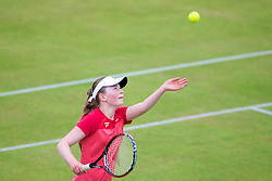 LIVERPOOL, ENGLAND - Wednesday, June 19, 2013: Amy Griffiths in action during the Women's Qualifying Final on the Kids Day at the Liverpool Hope University International Tennis Tournament at Calderstones Park. (Pic by David Rawcliffe/Propaganda)