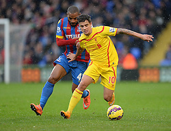 Liverpool's Philippe Coutinho under pressure from Crystal Palace's Jason Puncheon - Photo mandatory by-line: Alex James/JMP - Mobile: 07966 386802 - 23/11/2014 - Sport - Football - London -  - Crystal palace  v Liverpool - Barclays Premier League