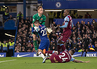 Football - 2019 / 2020 Premier League - Chelsea vs. West Ham United<br /> <br /> Christian Pulisic (Chelsea FC) crashes into David Martin (West Ham United) as the both challenge for the ball at Stamford Bridge <br /> <br /> COLORSPORT/DANIEL BEARHAM