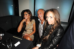 Left to right, CHERYL COLE, SIR PHILIP GREEN and CHLOE GREEN at the launch party for 'Promise', a new capsule ring collection created by Cheryl Cole and de Grisogono held at Nobu, Park Lane, London on 29th September 2010.