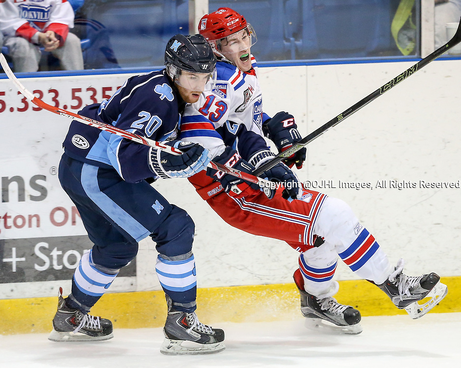Oakville, ON - MAR 4, 2016  Ontario Junior Hockey League game action between St. Michael's and Oakville Blades at the Sixteen Mile Sports Complex Oakville, ON. Dalton Barnes #20 of the St.Michael's Buzzers and Tyler Rollo #13 of the Oakville Blades battle for position during the third period. <br /> (Photo by Kevin Sousa / OJHL Images)