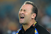 GOLD COAST, AUSTRALIA - APRIL 14:  Eels coach Ricky Stuart reacts during the round six NRL match between the Gold Coast Titans and the Parramatta Eels at Skilled Park on April 14, 2013 on the Gold Coast, Australia.  (Photo by Matt Roberts/Getty Images)