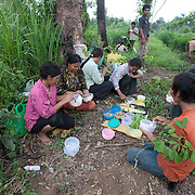 Cambodia migrant workers gather along the border of Thailand.