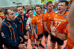 09-06-2019 NED: Golden League Netherlands - Spain, Koog aan de Zaan<br /> Fourth match poule B - The Dutch beat Spain again in five sets in the European Golden League / Michael Parkinson #17 of Netherlands, Thijs Ter Horst #4 of Netherlands, Wessel Keemink #2 of Netherlands, Ewoud Gommans #9 of Netherlands, Wouter Ter Maat #16 of Netherlands