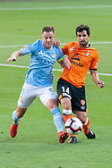 Melbourne City defender Scott Jamieson (3) competes for the ball at the Hyundai A-League Round 13 soccer match between Melbourne City FC and Brisbane Roar FC at AAMI Park in VIC, Australia 11th January 2019.