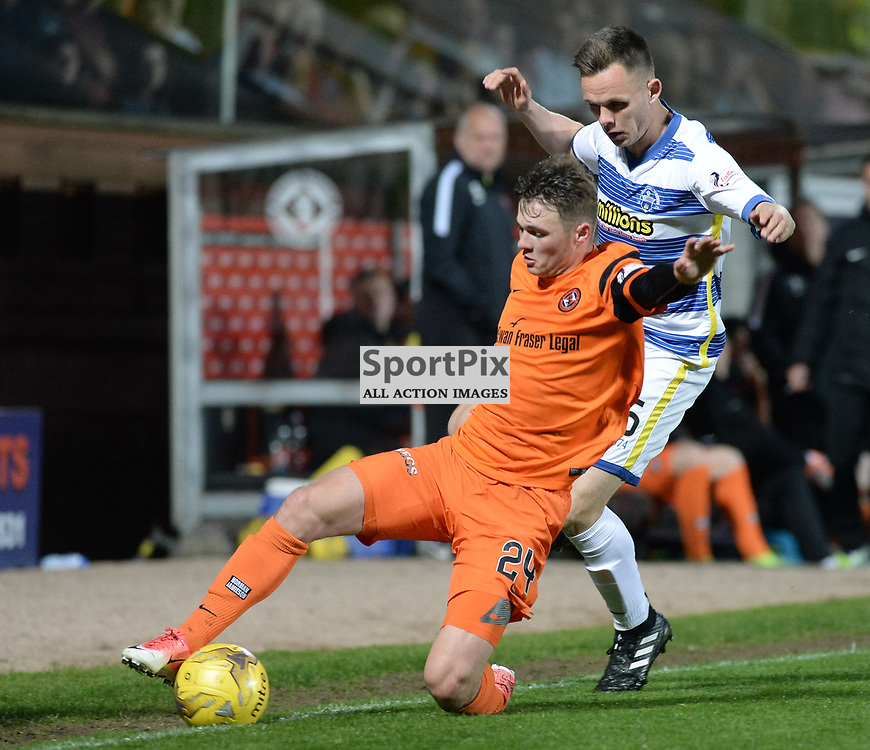 Jamie Robson (Dundee United) and Michael Doyle (Morton) during the SPFL Premiership quarter final play-off 2nd leg between Dundee United and Greenock Morton, where the home side went into the match with a 2-1 lead from the first leg, which proved too much for the Greenock side to overcome, as a win ensured the Tayside club progressed to the play-off semi final against Falkirk.<br /> <br /> (c) Dave Johnston | sportPix.org.uk