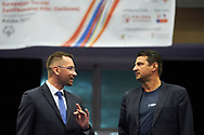 """Katowice, Poland - 2017 September 01: (L) Former volleyball player Sebastian Swiderski speaks to (R) SO Ambassador Vladimir """"Vanja"""" Grbic a former Serbian volleyball player (he won a gold medal in the 2000 Summer Olympics and a bronze medal in 1996 at Atlanta) while Opening Ceremony during European Unified Volleyball Tournament 2017 at Spodek Hall on September 01, 2017 in Katowice, Poland.<br /> <br /> Adam Nurkiewicz declares that he has no rights to the image of people at the photographs of his authorship.<br /> <br /> Picture also available in RAW (NEF) or TIFF format on special request.<br /> <br /> Any editorial, commercial or promotional use requires written permission from the author of image.<br /> <br /> Image can be used in the press when the method of use and the signature does not hurt people on the picture.<br /> <br /> Mandatory credit:<br /> Photo by © Adam Nurkiewicz / Mediasport"""