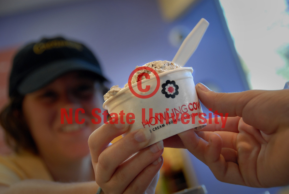 Howling Cow ice cream being served up at The Creamery in DH Hill Library. PHOTO BY ROGER WINSTEAD