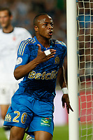 FOOTBALL - FRENCH CHAMPIONSHIP 2010/2011 - L1 - OLYMPIQUE MARSEILLE v VALENCIENNES FC - 21/05/2011 - PHOTO PHILIPPE LAURENSON / DPPI - ANDRE AYEW (OM) JOY AFTER HIS GOAL