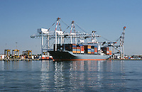 Container ship in dock Melbourne Australia
