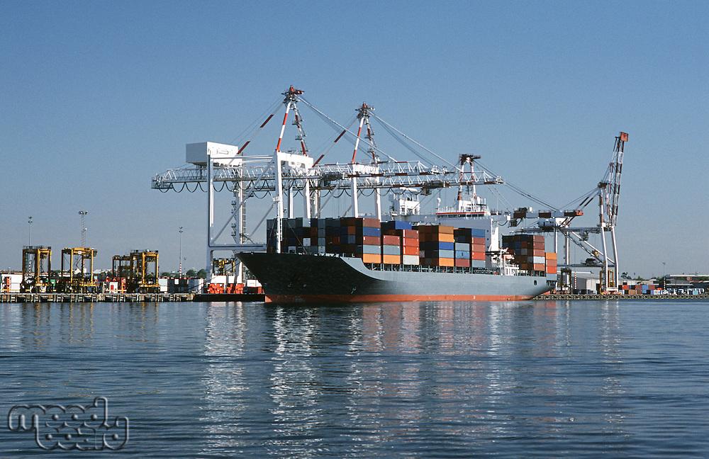 Container ship in dock Melbourne Australia
