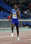 May 12, 2019; Yokohama, JPN; My'Lik Kerley runs the first leg on the United States mixed 4 x 400m relay that won in 3:16.43 during the IAAF World Relays at International Stadium Yokohama.