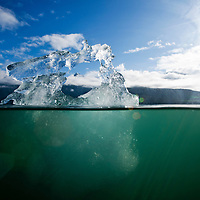 USA, Alaska, Tongass National Forest, Tracy Arm - Fords Terror Wilderness, Underwater view of melting iceberg from Dawes Glacier along Endicott Arm