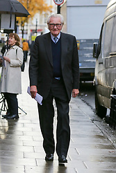 © Licensed to London News Pictures. 27/11/2019. London, UK. Former Conservative Deputy Prime Minister, LORD MICHAEL HESELTINE arrives in Holborn for a Liberal Democrats press conference. <br /> LORD MICHAEL HESELTINE supports Liberal Democrat candidates, SAM GYIMAH and CHUKA UMUNNA who are standing against the Tories on anti-Brexit manifestos. Britons go to the polls on 12 December in a General Election. Photo credit: Dinendra Haria/LNP