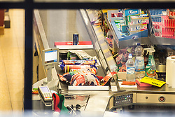 © Licensed to London News Pictures. 22/12/2017. Skipton UK. Picture shows abandoned shopping in the Aldi store where a 30 year old woman has died after she was stabbed in an Aldi supermarket in Skipton. North Yorkshire Police have arrested a 44 year old man on suspicion of murder following the attack shortly before 3:30 pm on Thursday. Photo credit: Andrew McCaren/LNP