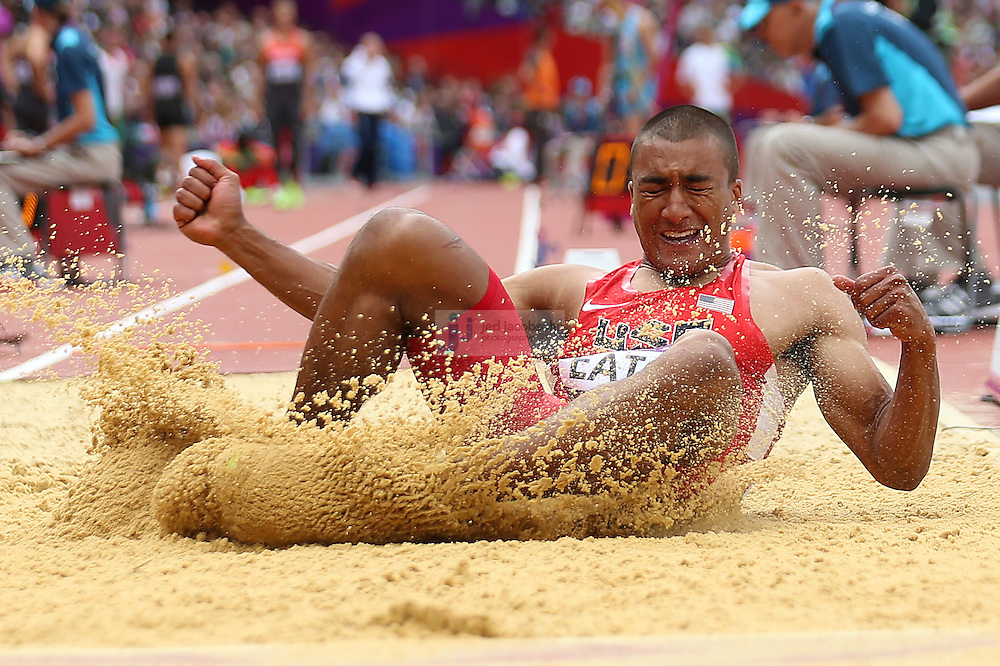 Ashton Eaton of the USA jumps during the long jump portion of the decathlon during track and field at the Olympic Stadium during day 12 of the London Olympic Games in London, England, United Kingdom on August 8, 2012..(Jed Jacobsohn/for The New York Times)..