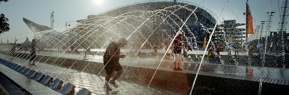Children play in the water fountains at Sydney Olympic Park...Panoramic images from the Sydney Olympic Games, Sydney, Australia.  2000 . Photo Tim Clayton
