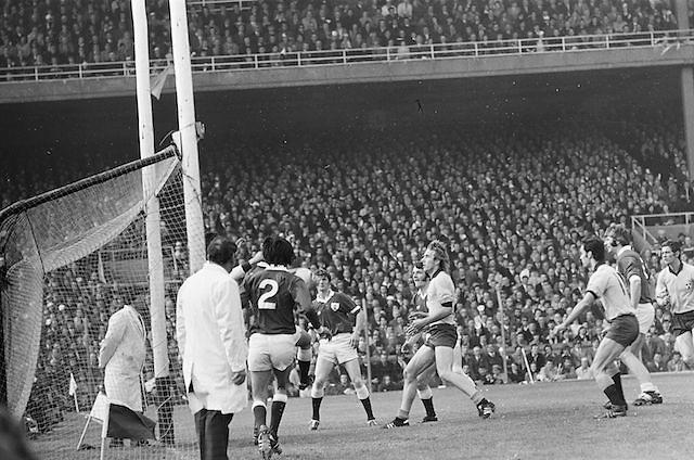 Dublin goalie saves ball during the All Ireland Senior Gaelic Football Championship Final Dublin V Galway at Croke Park on the 22nd September 1974. Dublin 0-14 Galway 1-06.