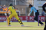 WICKET -  Meg Lanning is bowled by Katherine Brunt during the Royal London Women's One Day International match between England Women Cricket and Australia at the Fischer County Ground, Grace Road, Leicester, United Kingdom on 4 July 2019.