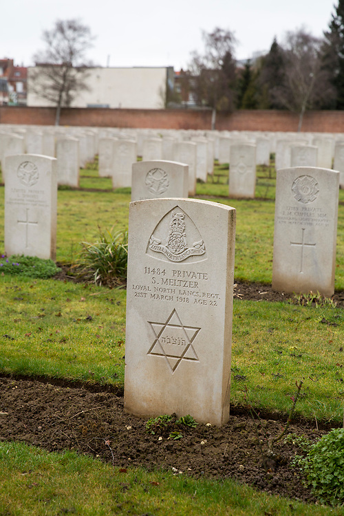 The headstone of a Jewish soldier. Faubourg D'Amiens cemetery is the burial site of 2678 identified casualties and a memorial to thousands more from the First and Second World War.  It is looked after and managed by the Commonwealth War Graves Commission in the town of Arras, France. (photo by Andrew Aitchison / In pictures via Getty Images)