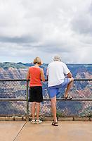 Tourists standing at overlook above Waimea Canyon, Waimea Canyon State Park, Kauai, Hawaii, USA.