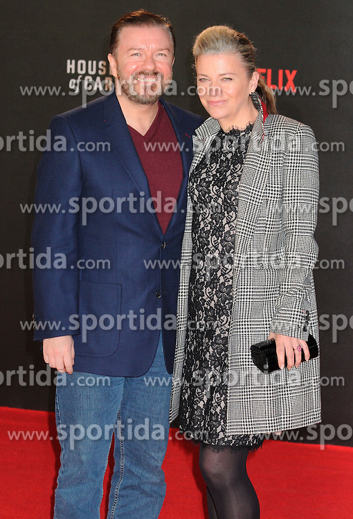 Ricky Gervais, Jane Fallon attends the World Premiere of 'House of Cards' Season 3 at The Empire Cinema on February 26, 2015 in London, England. EXPA Pictures &copy; 2015, PhotoCredit: EXPA/ Photoshot/ Michael Melia<br /> <br /> *****ATTENTION - for AUT, SLO, CRO, SRB, BIH, MAZ only*****